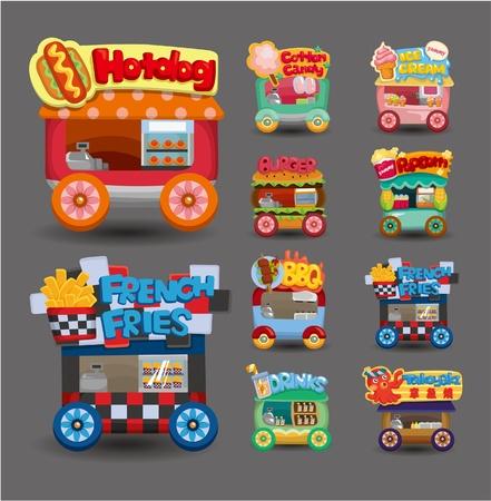 candy shop: Cartoon market store car icon collection