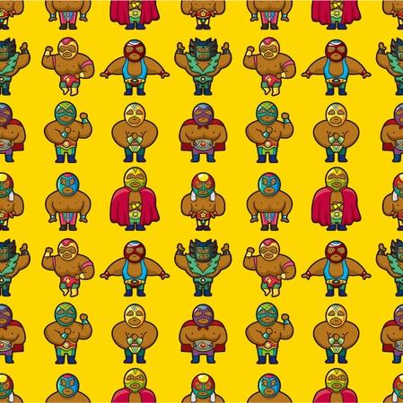 sportsperson: seamless wrestler pattern  Illustration