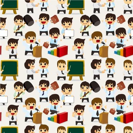 owner money: seamless cartoon office worker pattern  Illustration