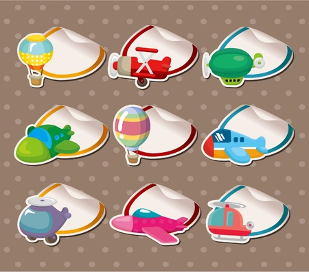 Cartoon airplane Stickers,Label Vector