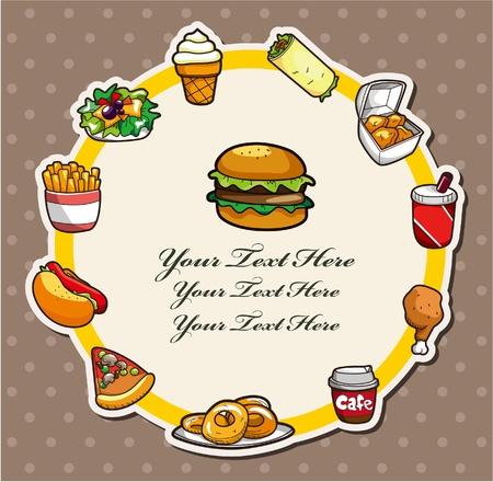 Cartoon fast-food card Vector