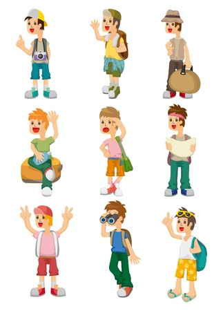 cartoon travel people icons set Vector