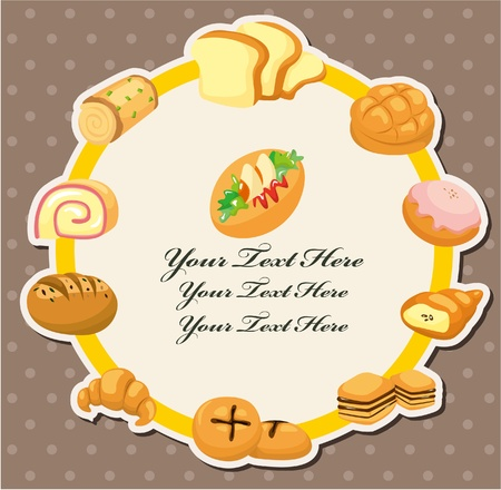 cartoon bread card  Vector