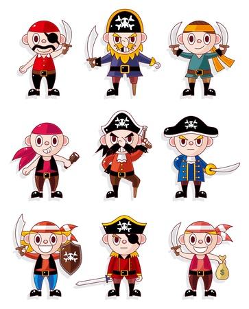 burglar: set di icone pirata dei cartoni animati  Vettoriali