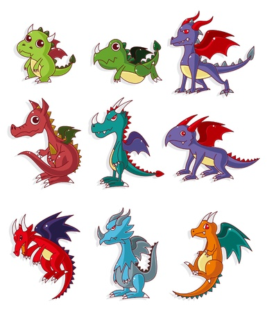 mythological character: cartoon fire dragon icon set  Illustration