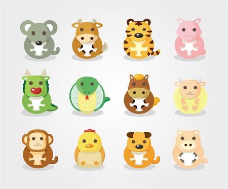 year of the tiger: 12 animal icon set,Chinese Zodiac animal ,