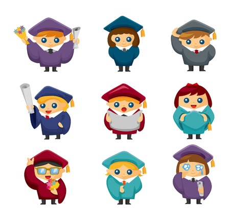 student with books: Cartoon Graduate students icons set