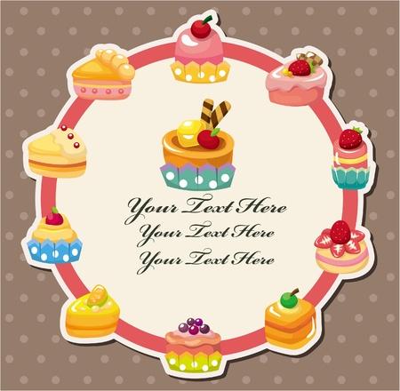 cartoon cake card 矢量图像