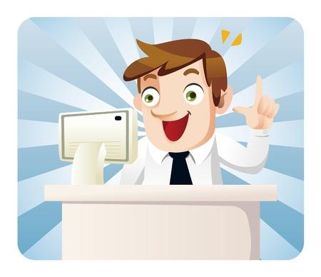 worker cartoon: empleado de la Oficina de dibujos animados Vectores