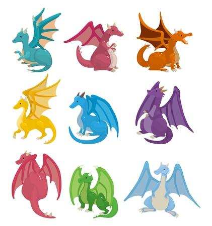 castello medievale: set di icone drago di fuoco del cartone animato