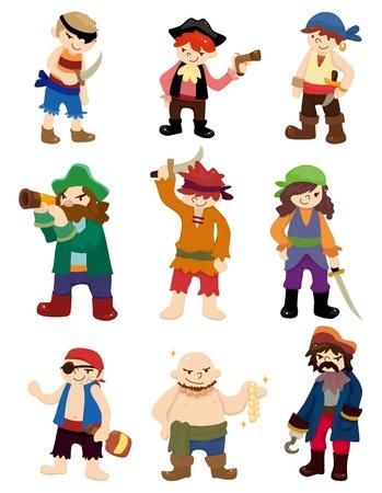 calavera pirata: conjunto de iconos animados pirata