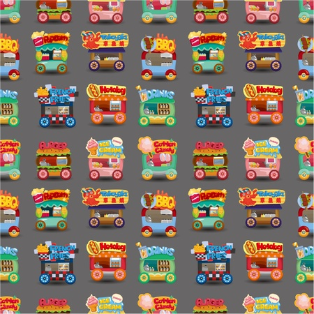 Cartoon market store car seamless pattern Stock Vector - 10390053