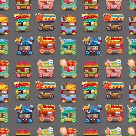 carretto gelati: Cartoon mercato automobilistico modello negozio senza soluzione di continuit�