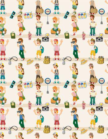 cartoon travel people seamless pattern Vector