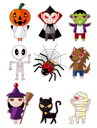 Cartoon Halloween monster icons Vector