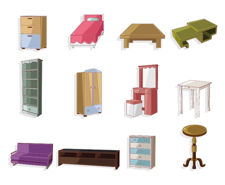 cute cartoon furniture icon set  Illustration