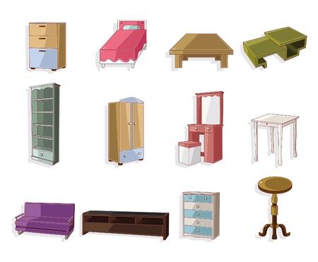 sofa set: cute cartoon furniture icon set  Illustration