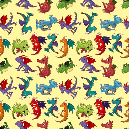classical mythology character: cartoon fire dragon seamless pattern Illustration