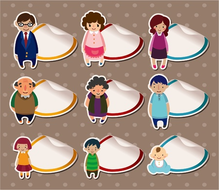 cartoon family Stickers,Label  Vector