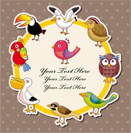 parrots: Cartoon bird card  Illustration