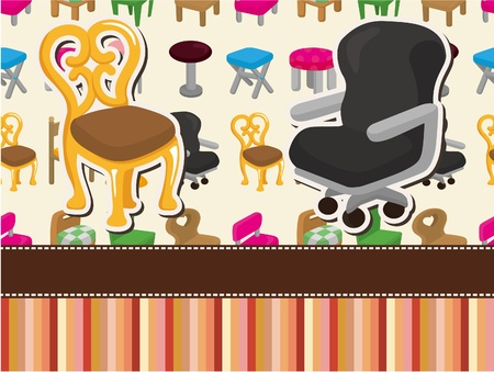 cartoon chair furniture card Vector