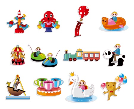 Cartoon Playground Equipment icons set Stock Vector - 10399969