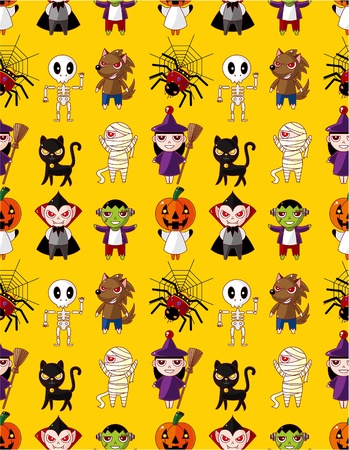 Cartoon Halloween holiday monster seamless pattern Vector