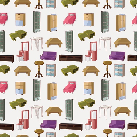 cute cartoon furniture seamless pattern Stock Vector - 10399973