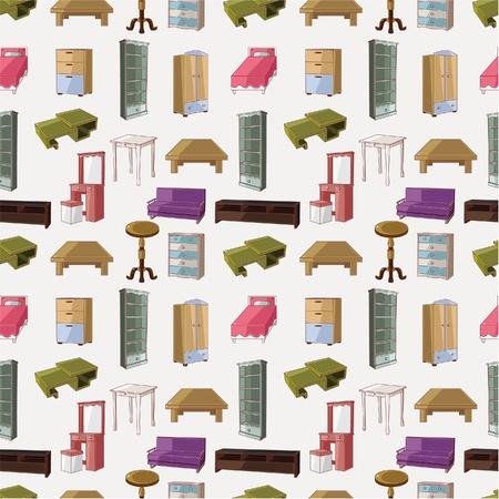wardrobe: cute cartoon furniture seamless pattern