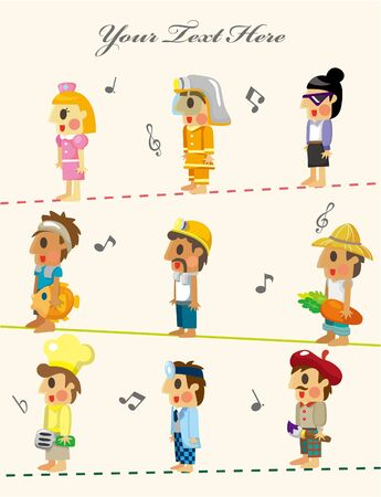 cartoon people job seamless pattern Vector