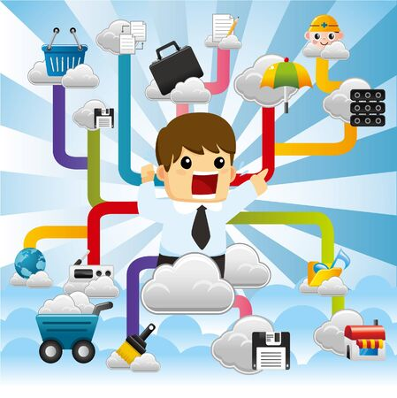 Cloud network,with business man. Stock Vector - 10399971
