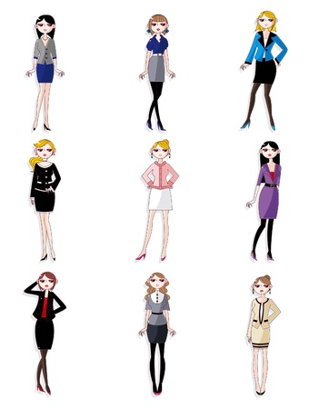 만화 예쁜 office 여자 작업자 아이콘 세트 일러스트
