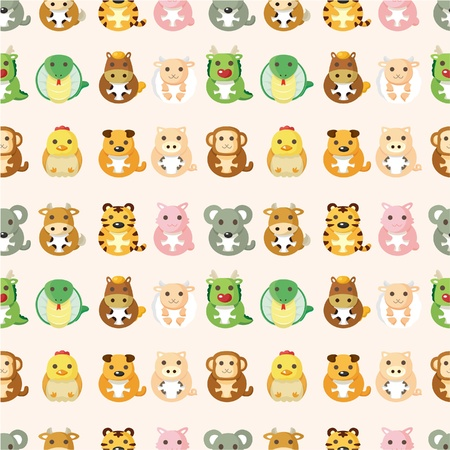Chinese animal  seamless pattern Vector