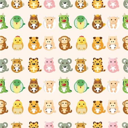 Chinese animal  seamless pattern Stock Vector - 10417302