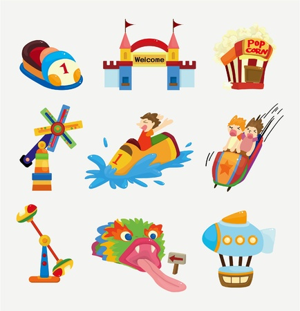 cartoon playground icons Vector