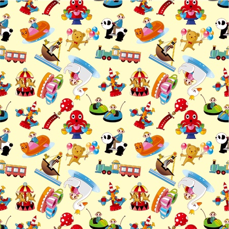 cartoon playground seamless pattern Vector