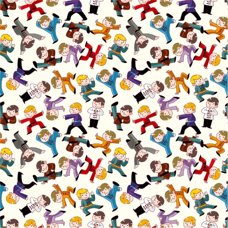 cartoon chinese Kung fu seamless pattern Vector
