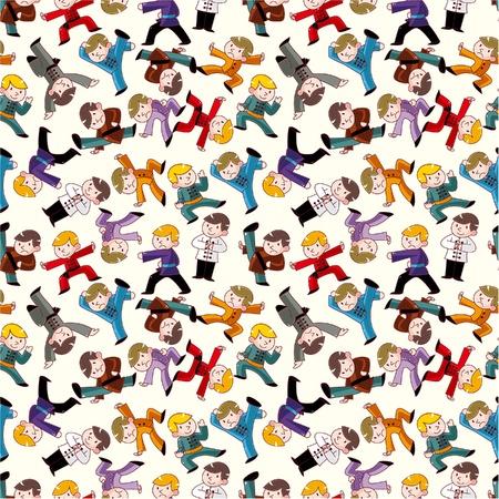 fu: cartoon chinese Kung fu seamless pattern Illustration