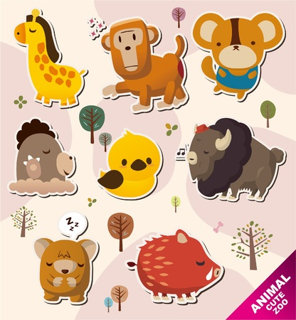 cartoon animal Stickers icons Stock Vector - 10428818