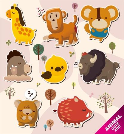 cartoon animal Stickers icons Stock Vector - 10428818
