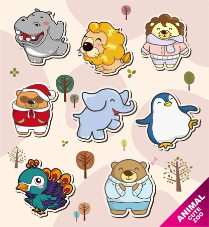 cartoon animal Stickers icons Vector