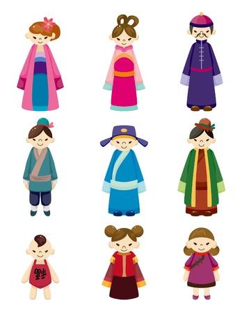formalwear: dibujo animado conjunto de iconos de pueblo chino  Vectores