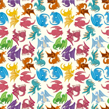 mythological character: cartoon fire dragon seamless pattern