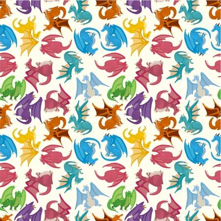 patrón transparente de dibujos animados fuego dragón