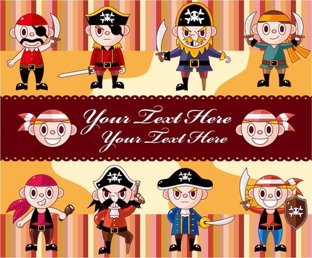 turban: cartoon pirate card  Illustration