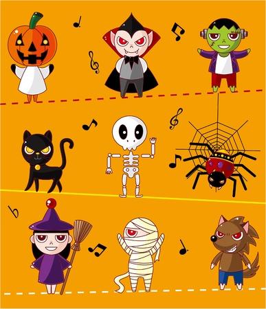 creepy monster: Carta di Halloween Cartoon Vettoriali