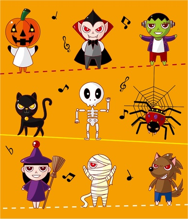 Cartoon Halloween card Vector