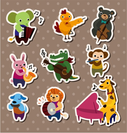 animal play music Stickers,Label Vector