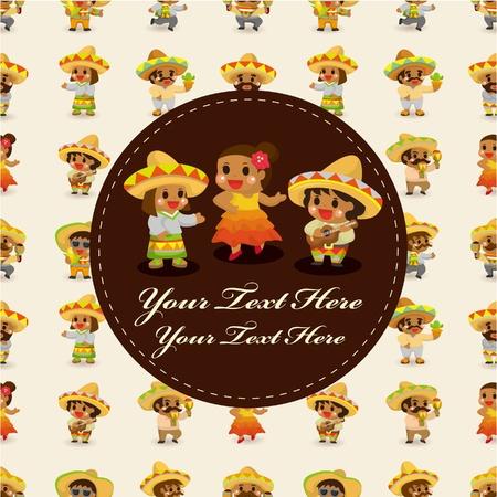 mexican boy: cartoon Mexican music band ,board card,vector Illustration