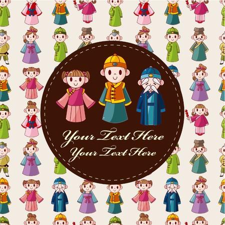 ancient tradition: tarjeta de dibujos animados chinos  Vectores